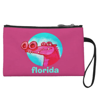 florida sweet crocodile funny cartoon wristlet