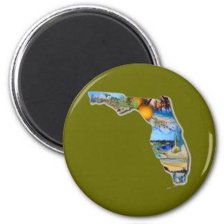 FLORIDA - THE SUNSHINE STATE 6 CM ROUND MAGNET