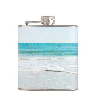 Florida Tropical Beach Sand Ocean Waves Sea Shells Hip Flask