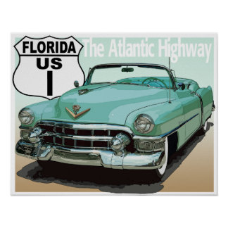 Florida US Route 1 - The Atlantic Highway Poster