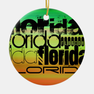 Florida; Vibrant Green, Orange, & Yellow Round Ceramic Decoration