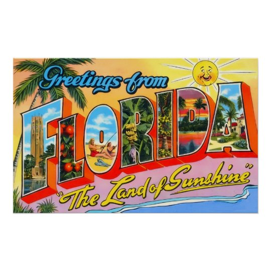 Florida Vintage Greetings Poster