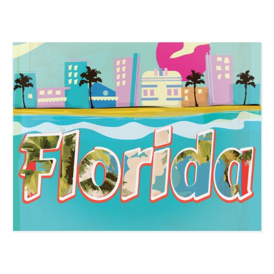 Florida Vintage vacation Poster Postcard