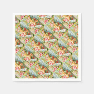 Florida Water Cologne with Cabbage Roses Disposable Napkins