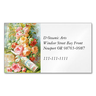 Florida Water Cologne with Cabbage Roses Magnetic Business Cards