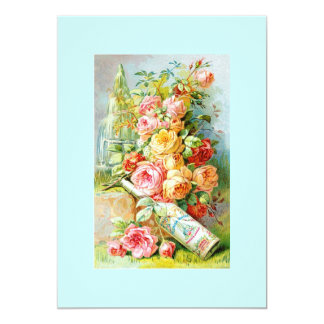 Florida Water Perfume Label with Cabbage Roses 13 Cm X 18 Cm Invitation Card