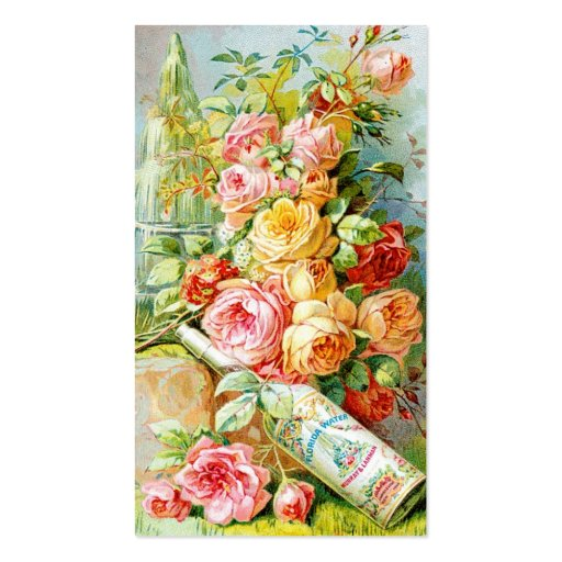 Florida Water Perfume Label with Cabbage Roses Business Card Templates