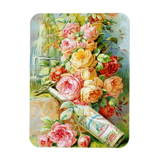 Florida Water Perfume Label with Cabbage Roses Rectangular Photo Magnet