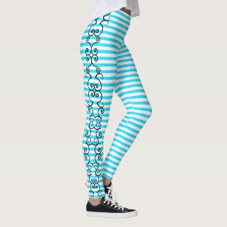 Florish Vine Aqua Blue Striped Leggings