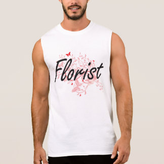 Florist Artistic Job Design with Butterflies Sleeveless T-shirt