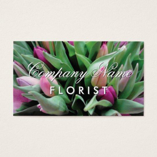 Florist business card template with flower bouquet