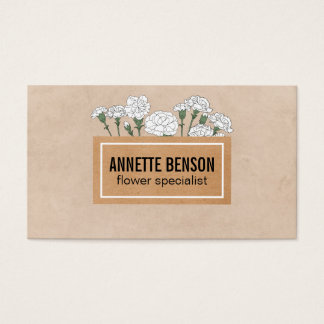 Florist | Carnations II (white) Business Card