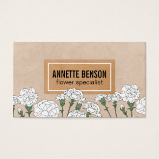 Florist | Carnations (white) Business Card