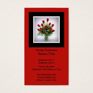 Florist | Roses Bouquet Vertical Black Red Business Card