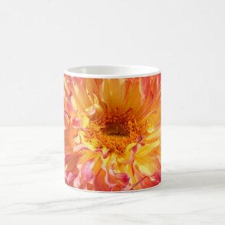 flouncy dahlia in yellow and pink mug