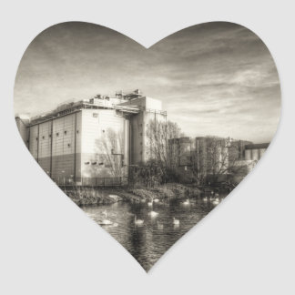 Flour Mill on the River Heart Sticker