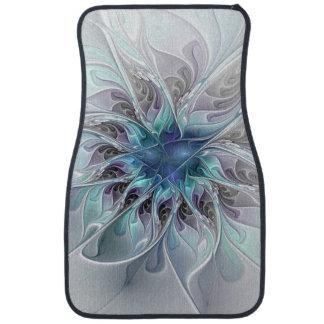 Flourish Abstract Modern Fractal Flower With Blue Car Mat