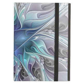 Flourish Abstract Modern Fractal Flower With Blue Case For iPad Air