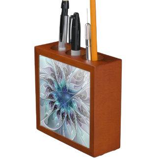 Flourish Abstract Modern Fractal Flower With Blue Desk Organiser