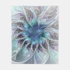 Flourish Abstract Modern Fractal Flower With Blue Fleece Blanket