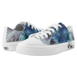 Flourish Abstract Modern Fractal Flower With Blue Low Tops