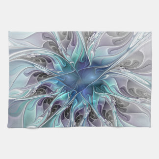 Flourish Abstract Modern Fractal Flower With Blue Tea Towel