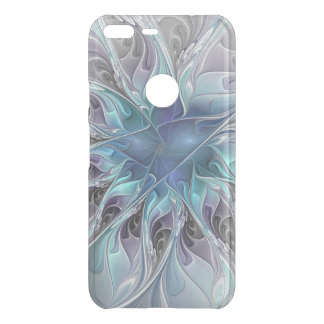 Flourish Abstract Modern Fractal Flower With Blue Uncommon Google Pixel XL Case