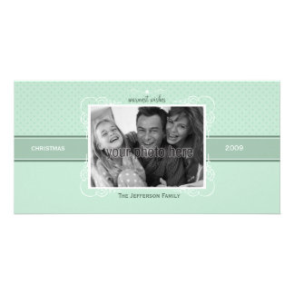 Flourish and Dots Christmas Photo Card in Blue