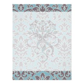 flourish blue and grey damask flyer design