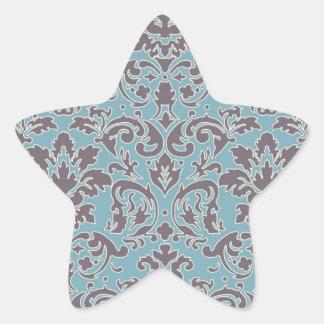 flourish blue and grey damask star sticker