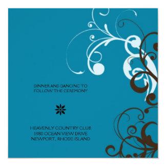 flourish; blue reception 13 cm x 13 cm square invitation card
