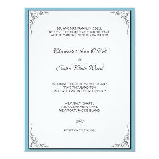 flourish blue; wedding 11 cm x 14 cm invitation card