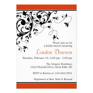 Flourish Burnt Orange Bridal Shower Invitations