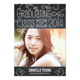 Flourish Chic Graduation Invitation - Chalkboard Personalized Announcements