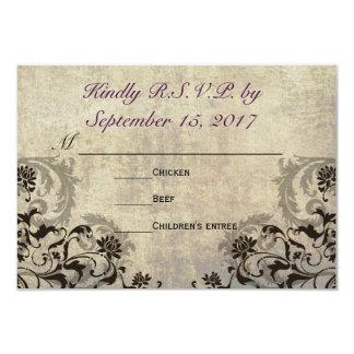 Flourish Circular Typography Wedding RSVP 3.5x5 Paper Invitation Card