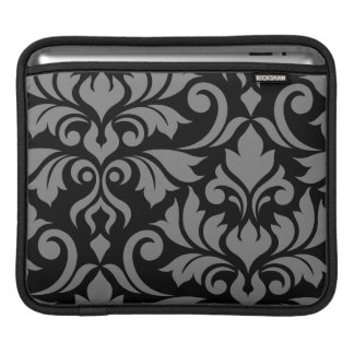 Flourish Damask 2Way Art I Gray & Black iPad Sleeve