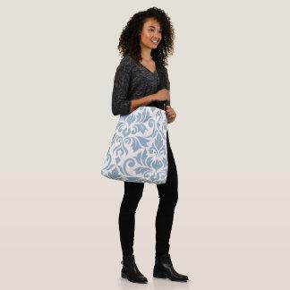 Flourish Damask Art I Blue on Cream Crossbody Bag