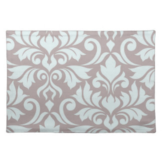 Flourish Damask Art I Duck Egg Blue on Taupe Placemat