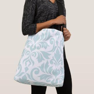 Flourish Damask Art I Duck Egg Blue on White Crossbody Bag