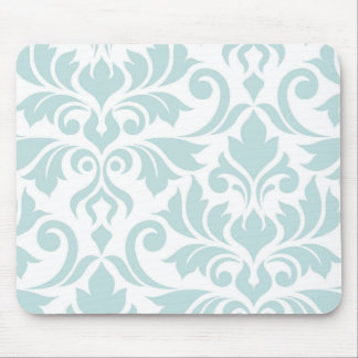 Flourish Damask Art I Duck Egg Blue on White Mouse Mat