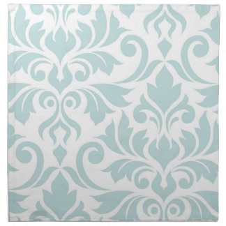 Flourish Damask Art I Duck Egg Blue on White Napkin