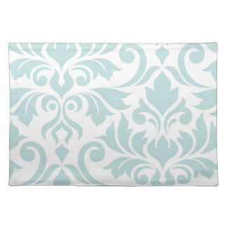 Flourish Damask Art I Duck Egg Blue on White Placemat