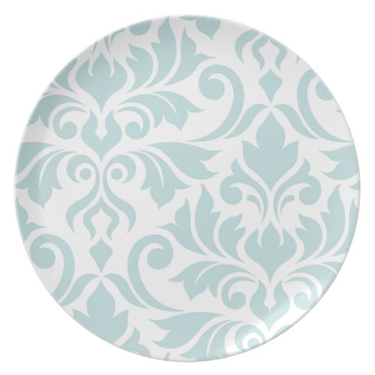 Flourish Damask Art I Duck Egg Blue on