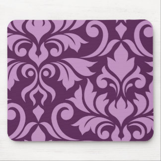 Flourish Damask Art I Pink on Plum Mouse Pad