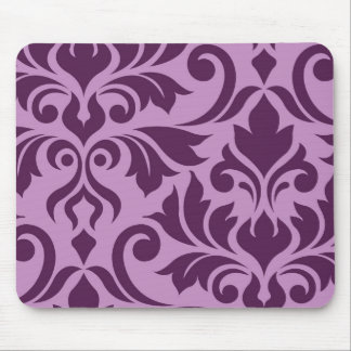 Flourish Damask Art I Plum on Pink Mouse Pad