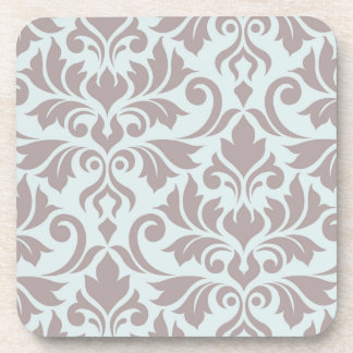 Flourish Damask Art I Taupe on Duck Egg Blue Coaster