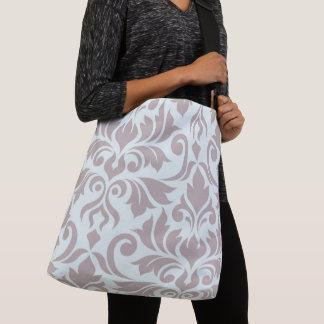 Flourish Damask Art I Taupe on Duck Egg Blue Crossbody Bag