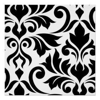 Flourish Damask Art I White on Black