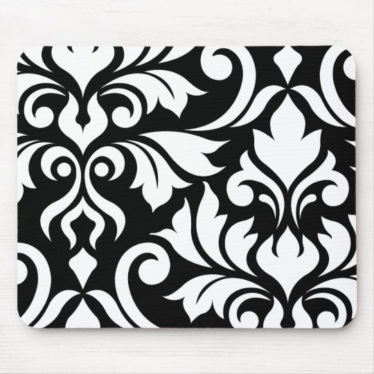 Flourish Damask Art I White on Black Mouse Mat