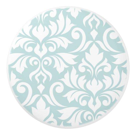 Flourish Damask Art I White on Duck Egg